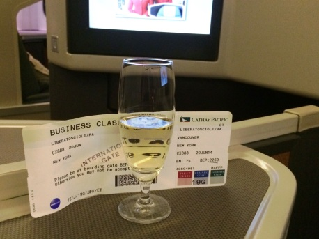 A little champagne pre-departure helps you fall asleep right?