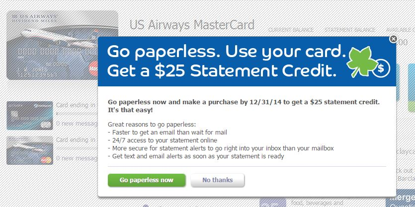 $11 Statement Credit for Switiching to Paperless Statements for