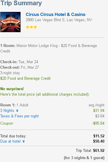 One Example for a Cheap Vegas Hotel