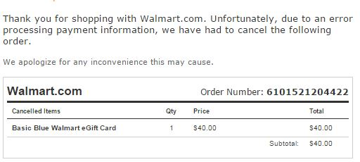 E-Gft Card error