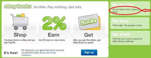 eBay Bucks Signup