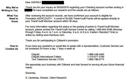 Success! Citibank Finally Agrees to Award 50k Citigold Checking Account Signup Bonus